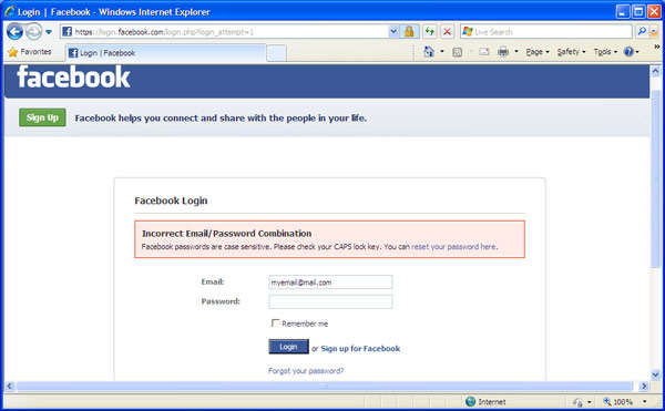 Facebook login window. Incorrect email/password combination