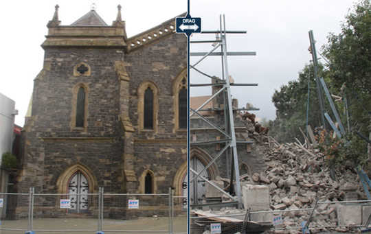 Christchurch before and after earthquake