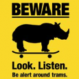 Yarra Trams in Melbourne is one of the world's largest tram network operator started campaign about tram danger comparing it with running rhinos.