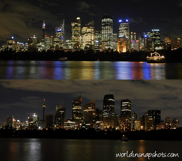 Sydney CBD before and during Earth Hour