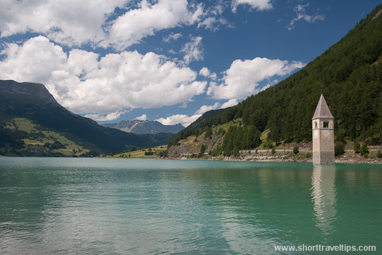 Church of Curon Venosta, lake Resia, Italy