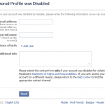Disabled Facebook profile