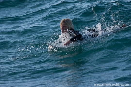 paddling at Byron Bay, Australia