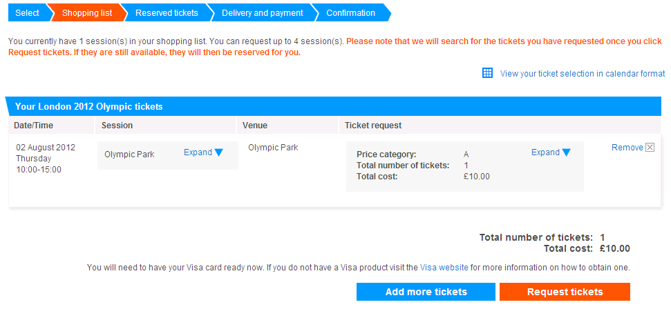 London olympic games. Tickets request