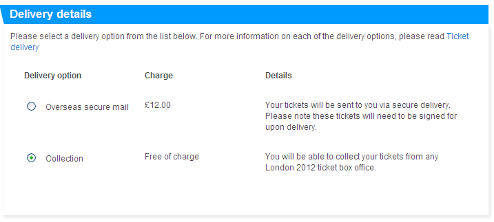 London olympic games. Tickets delivery details
