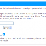 London olympic games. Visa credit card details