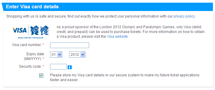 London olympic games. Visa credit card details