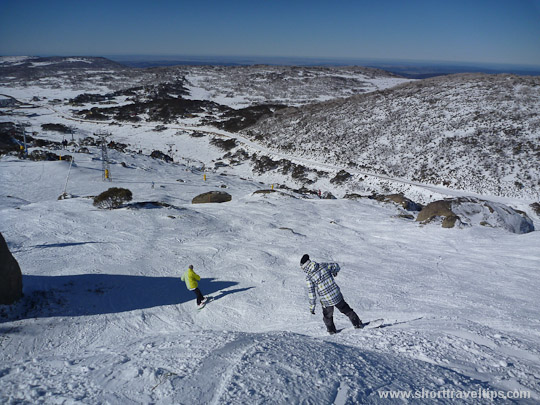 Going down from Perisher peak in Australia