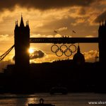 Sunset at Tower bridge during Olympics games 2012 in London