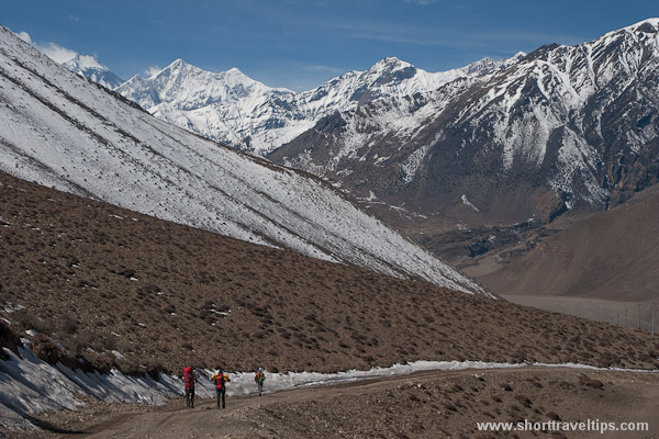 hikers in Himalayas, Kagbeni, Nepal