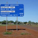 Road sign about next services near Western Australia/Northern Territory border