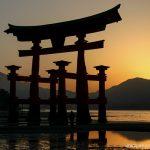 Otorri gates during sunset, Miyajima island, Japan