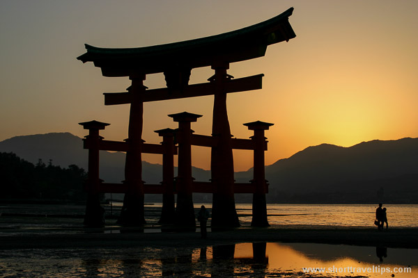 Otorri gates during sunset, Miyajima island, Japan