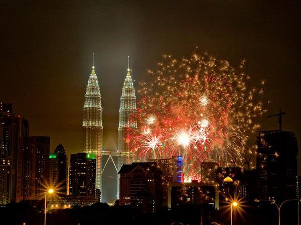 Fireworks in Kuala Lumpur, Malaysia