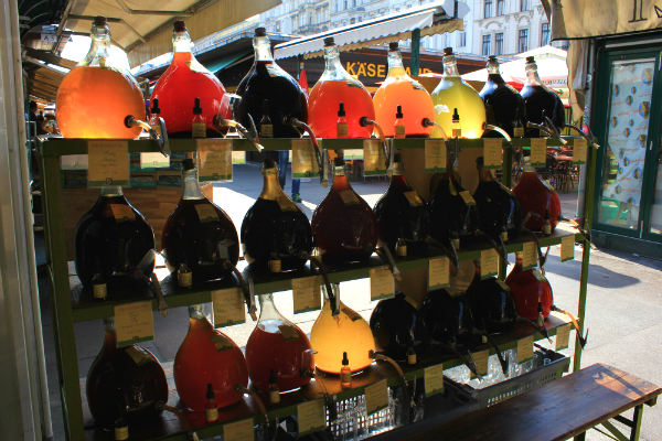 Vinegar bottles at Naschmarkt, Vienna, Austria