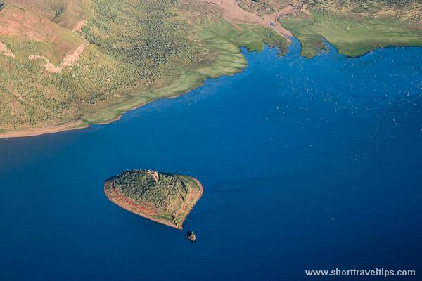 Heart shaped island in Lake Argile in Kimberley