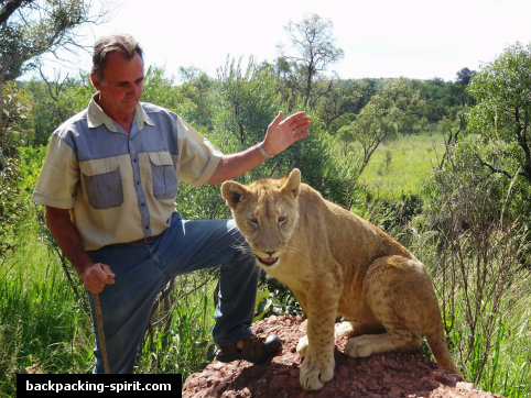 Colin (the owner) with lion
