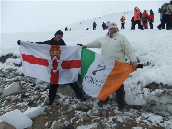 Northern Ireland and Republic of Ireland flags in Antarctica
