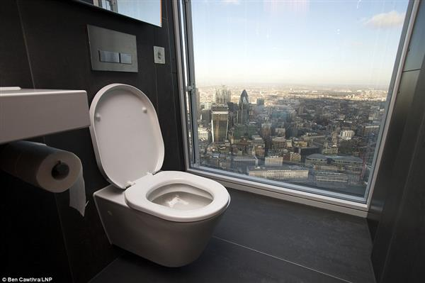 The view from toilet on the 68th floor of The Shard